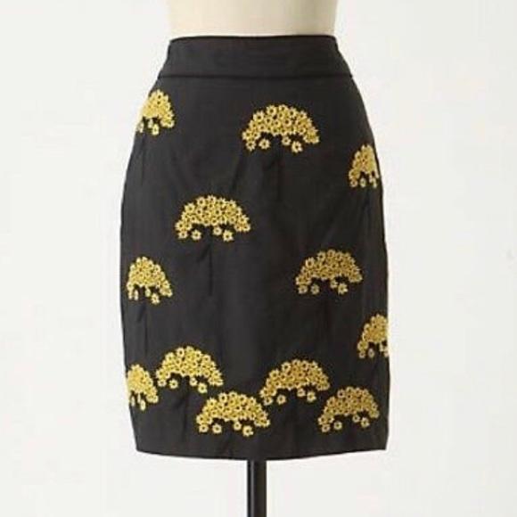 Anthropologie Dresses & Skirts - Anthropologie Floreat Flower Gray Yellow Skirt